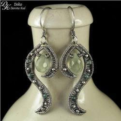 kolczyki,wirewrapping,prehnit,zielone,unikat,srebr - Kolczyki - Biżuteria
