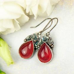 kolczyki,motyw kwiatowy,srebrne,artseko - Kolczyki - Biżuteria