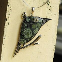 wisior,srebro,ptak,dzięcioł,kambaba,jaspis - Wisiory - Biżuteria