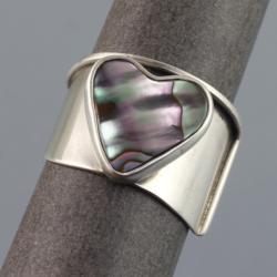 srebrny pierścionek z serduszkiem z muszli paua - Pierścionki - Biżuteria