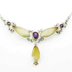 kolia,bursztyn,srebro,dla niej,prezent,święta - Naszyjniki - Biżuteria