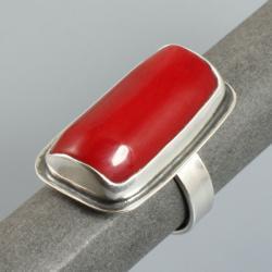srebrny pierścionek z koralem - Pierścionki - Biżuteria