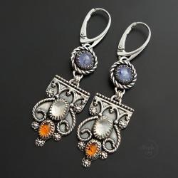 srebrne kolczyki z tanzanitem,z bursztynem - Kolczyki - Biżuteria