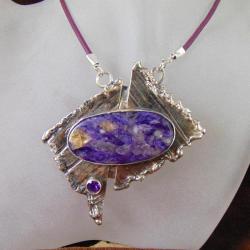 Wisor srebrny z czaroitem - Wisiory - Biżuteria