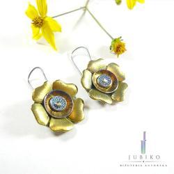 kolczyki,tytan,kwiatek,hipoalergiczne,złote - Kolczyki - Biżuteria