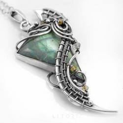 zielony,z labradorytem,elficki,ekskluzywny - Naszyjniki - Biżuteria