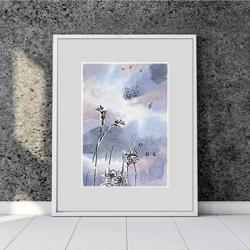 pejzaż,łąka,mini,obrazek,prezent,na ścianę, - Ilustracje, rysunki, fotografia - Wyposażenie wnętrz