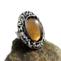 kwarc dymny,blask,srebro,okaz,srebrny - Pierścionki - Biżuteria