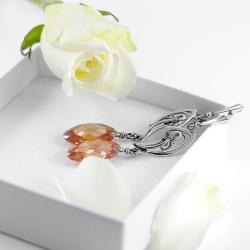 cyrkonia,kolczyki,srebrne,karmel - Kolczyki - Biżuteria