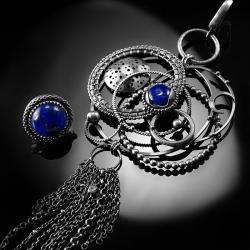srebrne,kolczyki,wire-wrapping,lapis lazuli,kosmos - Kolczyki - Biżuteria