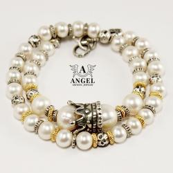 bransoleta z pereł,korona ze srebra - Bransoletki - Biżuteria