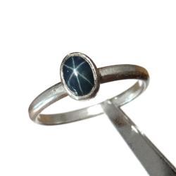 szafir,delikatny,blask,gwiazda,asteryzm,subtelny - Pierścionki - Biżuteria