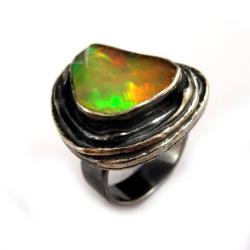 opal,złoty,unikat,okaz,tęczowy,blask,szlachetny, - Pierścionki - Biżuteria