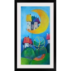 koty,miasteczko,domki,księżyc - Obrazy - Wyposażenie wnętrz