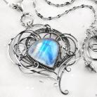 Naszyjniki srebrny,naszyjnik,wire-wrapping,kamień,księżycowy