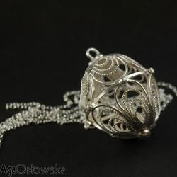 ekskluzywna,ażurowa,filigranowa,srebrna,kula - Wisiory - Biżuteria