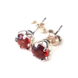 granat,srebrne,winny,blask,srebro,minerał,kryształ - Kolczyki - Biżuteria