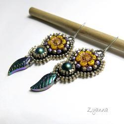 kolczyki,kwiatowe,małe,haft koralikowy,beading - Kolczyki - Biżuteria