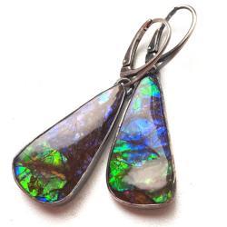 AMMOLITY,blask,srebrne,ammolit,okazałe,tęczowe - Kolczyki - Biżuteria