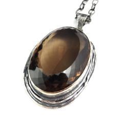 kwarc dymny,blask,srebro,okaz,ogromny,retro,brown - Wisiory - Biżuteria