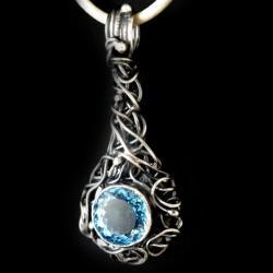 topaz,błękit,swiss,blask,niebo,b,srebrny,szary - Wisiory - Biżuteria