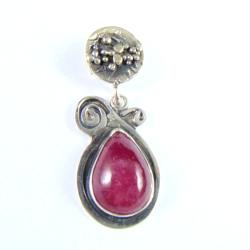 wisior srebrny z rubinem - Wisiory - Biżuteria