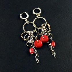 srebrne kolczyki z koralem - Kolczyki - Biżuteria