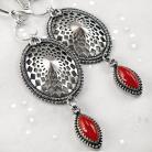 Kolczyki srebrne,kolczyki,wire-wrapping,czerwony,koral