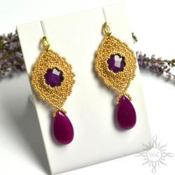 wieczorowe,koronkowe,ażurowe,bogate,złote,fiolet - Kolczyki - Biżuteria