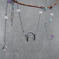 boho,księżyc,lunula,delikatny,choker,talizman - Naszyjniki - Biżuteria