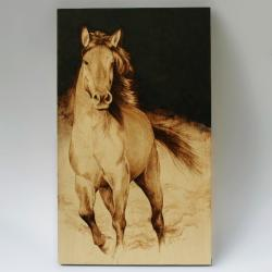 koń,obraz,pirografia - Ilustracje, rysunki, fotografia - Wyposażenie wnętrz