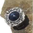 Pierścionki szafir,srebrny,blask,gwiazda,kosmos,granat,blue