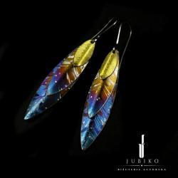 tytan,lekkie,kolczyki,listek,niepowtarzalne - Kolczyki - Biżuteria