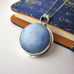 Niebieski opal,naszyjnik na długim łańcuszku - Naszyjniki - Biżuteria