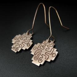 kolczyki,chacana,biżuteria autorska,fiann,brąz - Kolczyki - Biżuteria