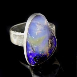 opal,australijski,srebrny,pierścień,okazały,retro, - Pierścionki - Biżuteria