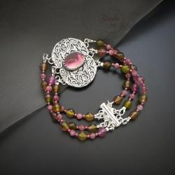 srebrna,bransoletka,z turmalinem - Bransoletki - Biżuteria