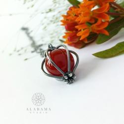 minimalistyczny srebrny wisior z agatem brązowym - Wisiory - Biżuteria