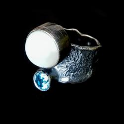 topaz,błękit,sky,blask,niebo,uniat,srebrny,perła - Pierścionki - Biżuteria
