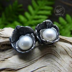 srebrne,perłowe,romantyczne,perła,sztyfty - Kolczyki - Biżuteria