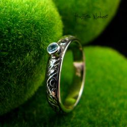 Nehesi,pierścień,srebrny,elfy,delikatny,topazem - Pierścionki - Biżuteria