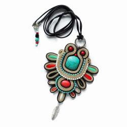 etniczny wisior,naszyjnik soutache - Wisiory - Biżuteria