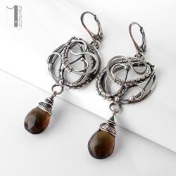kolczyki srebrne,wire wrapping,kwarc dymny - Kolczyki - Biżuteria