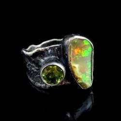 opal,srebrny,opalowy,łza,tęczowy,delikatny,oliwin - Pierścionki - Biżuteria