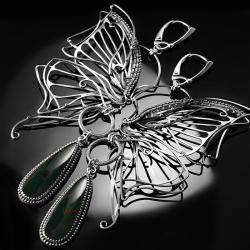 srebrne,kolczyki,wire-wrapping,heliotrop,motyl - Kolczyki - Biżuteria