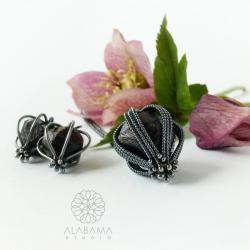 srebrny komplet z surowymi granatami,alabama - Komplety - Biżuteria
