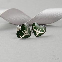 kolczyki ze srebra,kolczyki z porożem - Kolczyki - Biżuteria