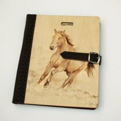 szkicownik,notatnik,pirografia,koń - Notesy - Akcesoria