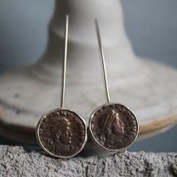 kolczyk,i moneta,rzym,srebro,brąz,antyk - Kolczyki - Biżuteria