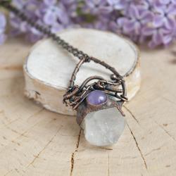 kryształ górski,wisior,surowy,boho naszyjnik - Naszyjniki - Biżuteria